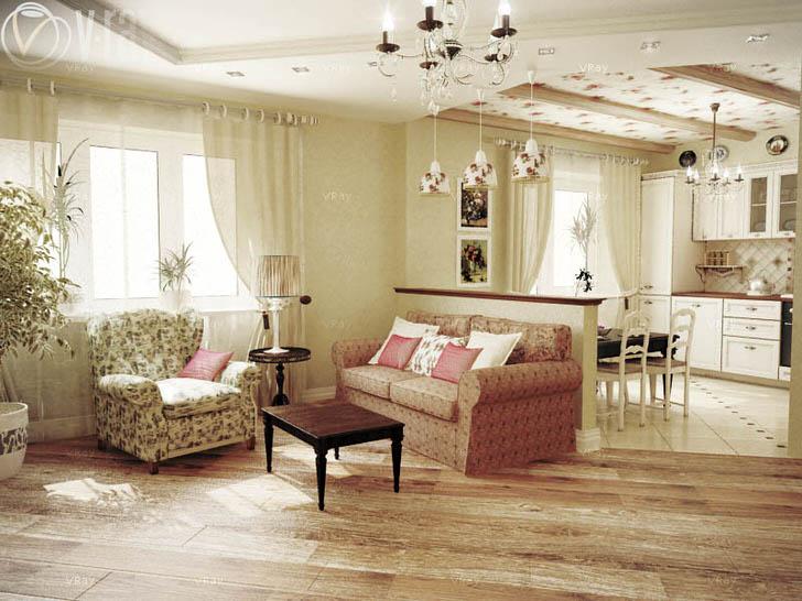 Дизайнерский проект сделан под заказ молодой леди. Нежный, скромный интерьер для гостиной в стиле кантри прованс.