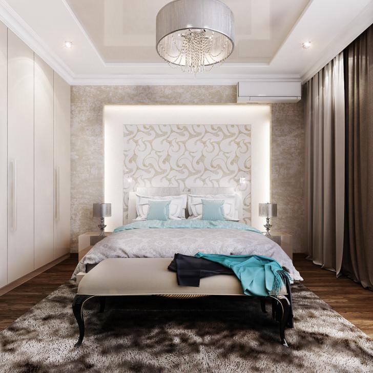 Тонкий дизайнерский замысел - декоративное, освещаемое панно в изголовье кровати. Отличное решение для любителей почитать перед сном.