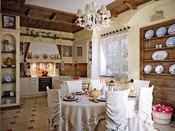 Дизайнерский проект для кухни в кантри стиле. Примечательной особенностью стиля является использование в оформлении трикотажа для дома. Так на столе мы видим скатерть, которая выполнена в одном стиле с чехлами на стулья.