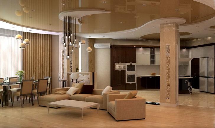 Интересный вариант освещения для гостиной в модерн стиле. Характерной чертой интерьеров в модерн стиле являются глянцевые поверхности, к примеру, двухъярусный потолок.