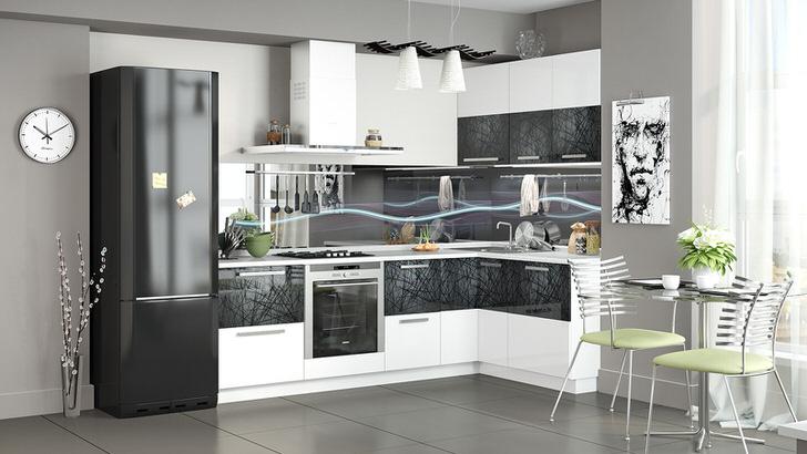 Современная кухня оформлена с использованием модульного кухонного гарнитура. Угловой гарнитур позволяет сэкономить пространство.
