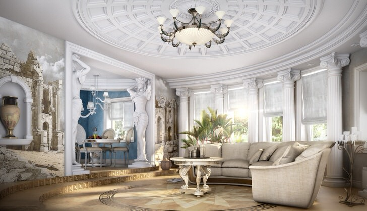 Просторная гостиная в стиле неоклассика с правильно подобранной мебелью. Ненавязчивая классика в современном исполнении.