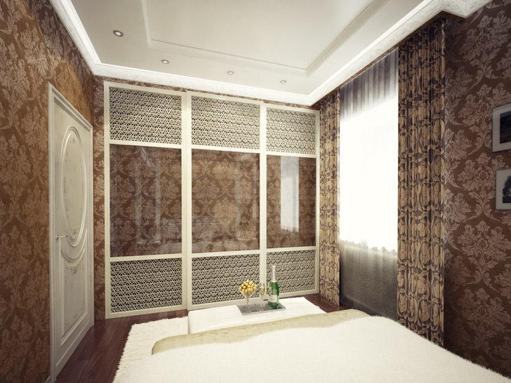 Мебель для спальни в стиле арт-деко должна быть вместительной, функционально и привлекательной. Стильная гардеробная с глянцевыми дверьми - идеальный вариант интерьера в данном стилистическом направлении.