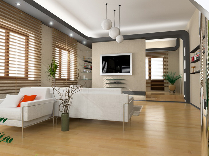 Просторная гостиная в стиле модерн примечательна зонированным освещением.