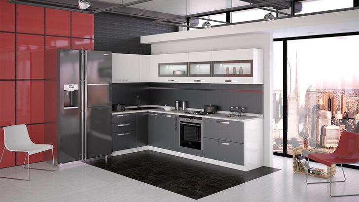 Модульная мебель на кухне в стиле хай-тек. Удачное решение для организации кухонного пространства.