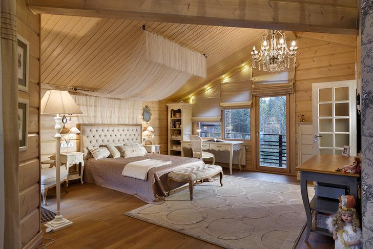 Спальная в одноэтажном доме в кантри стиле.