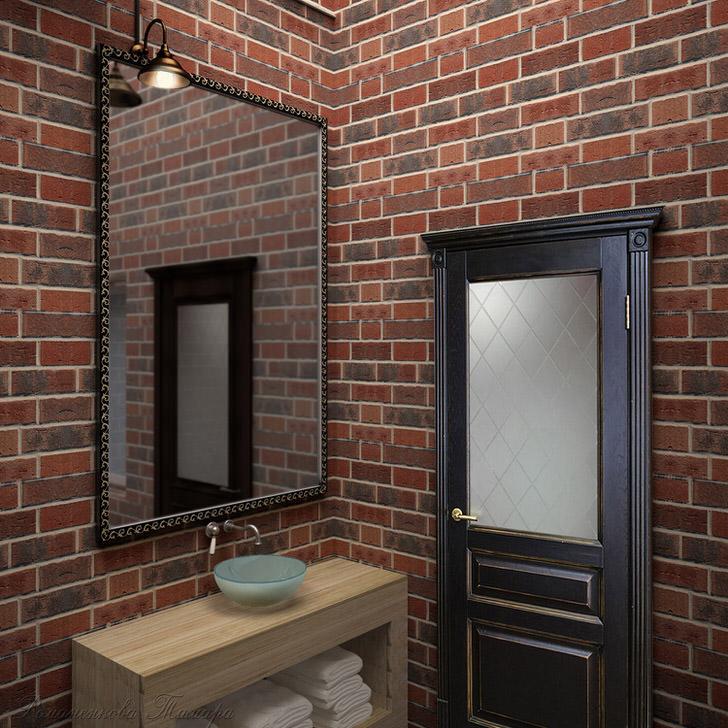 Стена из кирпича в ванной