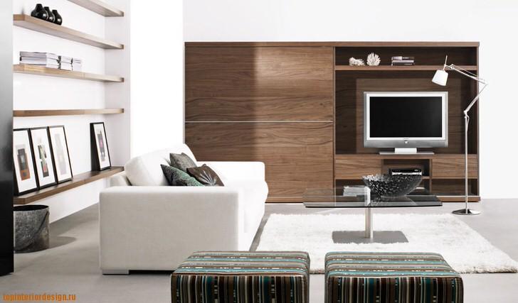 Гостиная оформлена в соответствии со стилем модерн, который приветствует использование отделочных материалов натурального происхождения.