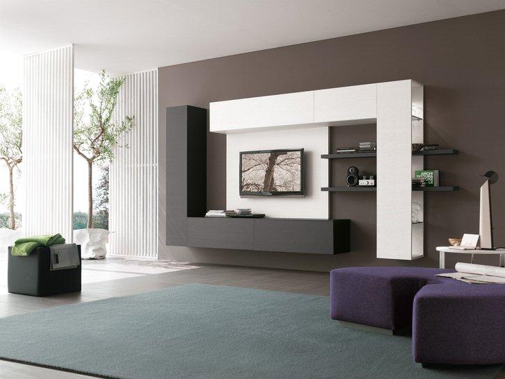 Чтобы подчеркнуть лёгкость интерьера гостиной дизайнеры предлагают подвесную модульную мебель.