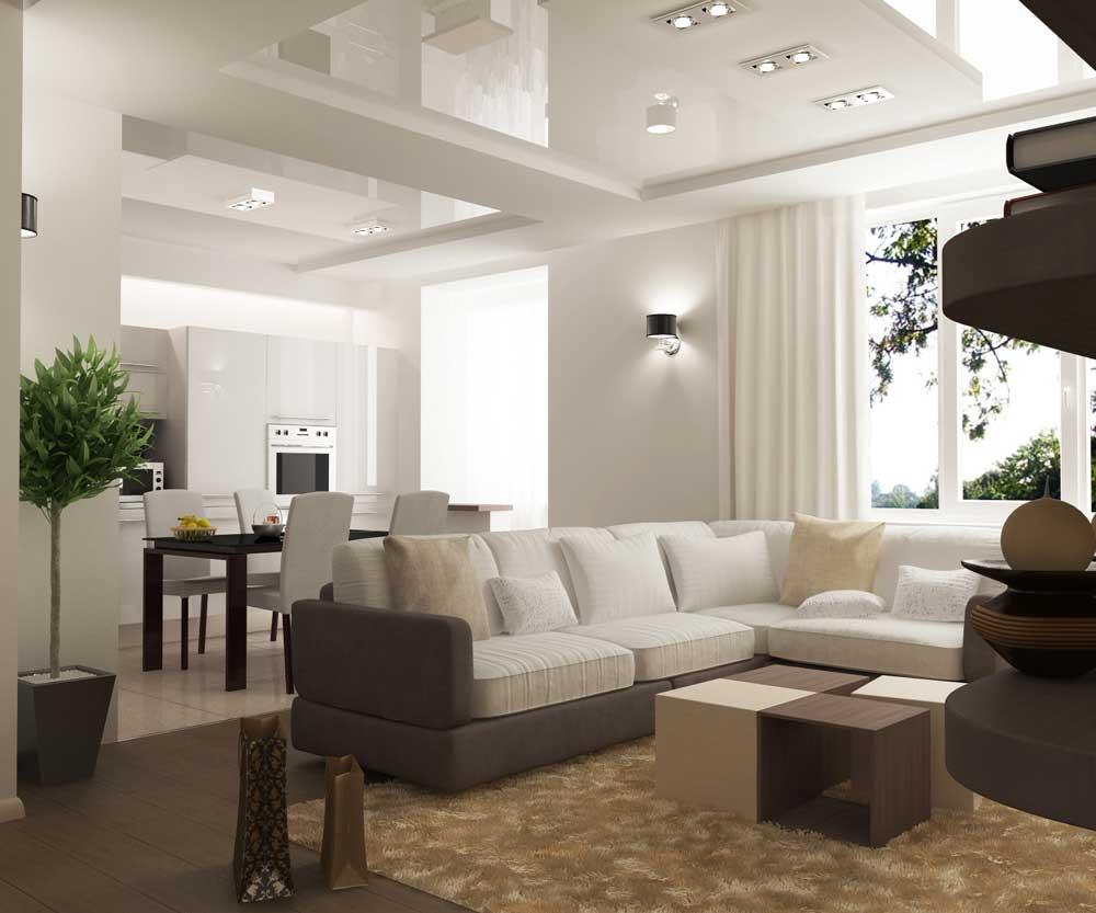 Белоснежные глянцевые потолки с правильно подобранным освещением.