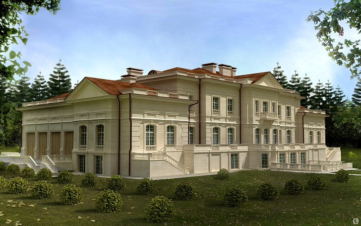 Дом в Берлине украшен фасадной лепниной.
