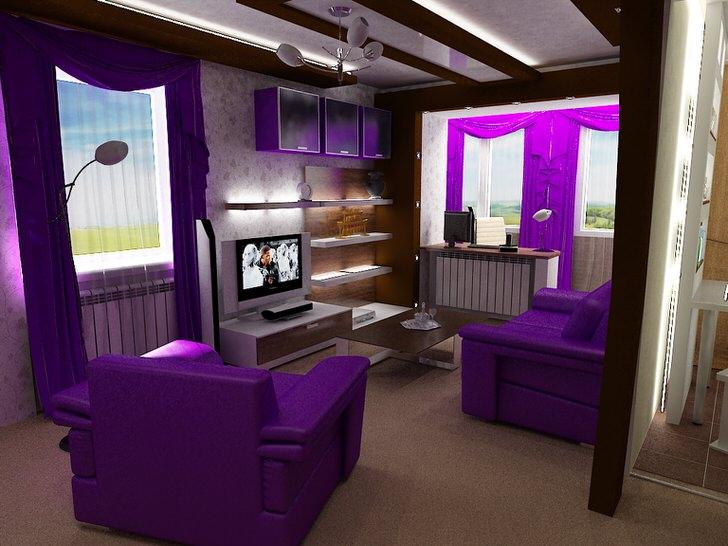 Яркие акценты сочного фиолетового цвета делают гостиную в стиле модерн по-настоящему эксклюзивной.