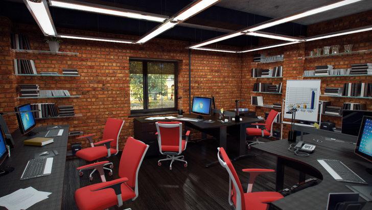 Красные кресла в кабинете в стиле лофт смотрятся органично и креативно. Интерьер построен максимально функционально.