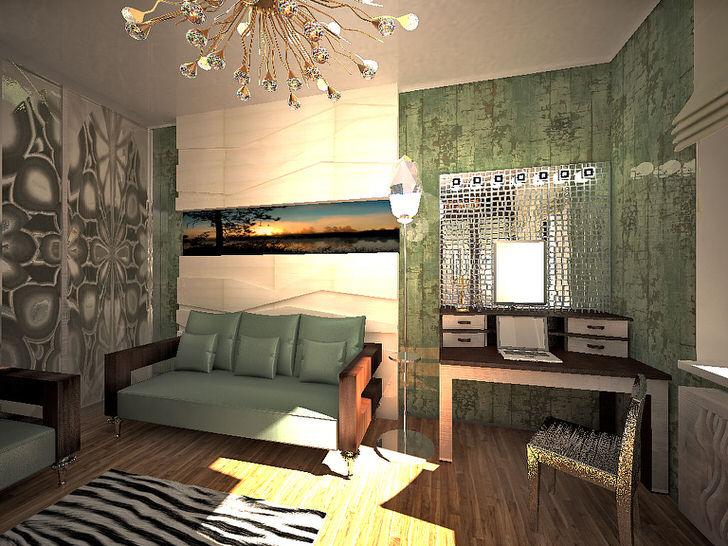 Золотой блеск в сочетании с элементами из хрусталя дает отличный вариант освещения для гостиной в стиле хай-тек.