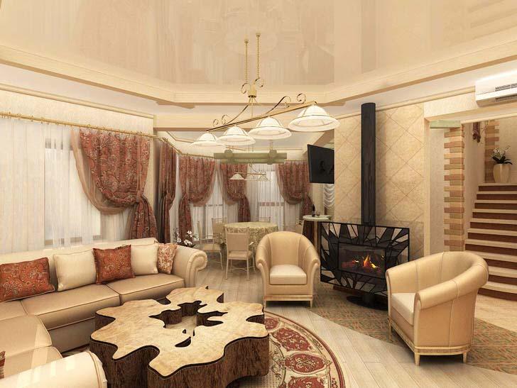 Тонкий дизайнерских ход для гостиной в стиле эклектика - газовый камин в строгой металлической огранке. Взгляд также привлекает ассиметричный стол из дерева.