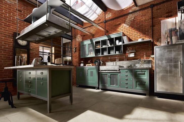 Кухня в стиле лофт с грамотно подобранной мебелью.