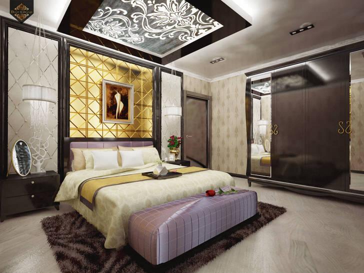 Роскошная спальная комната в стиле арт-деко в доме французской семьи.
