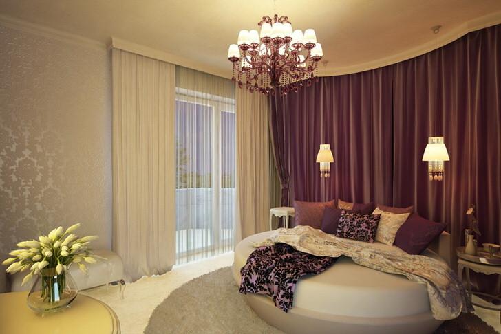 Круглая кровать - необычное решения для эксцентричной спальни в арт-деко стиле.