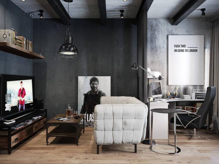 Имитация голых бетонных стен - отличное решение для кабинета в лофт стиле.