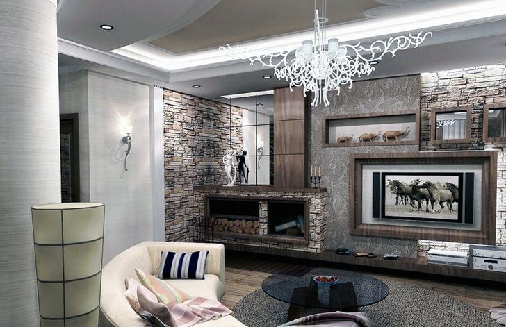 Отделка из природного камня гармонично вписывается в стильный, современный интерьер гостиной. Зеркала над камином, необычной формы, витиеватая люстра, мягкий диван полукругом. Каждый элемент интерьера соответствует заявленному стилистическому направлению.