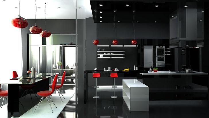 Изящная комната-студия с оригинальной мебелью в стиле хай тек. Красный цвет всегда смотрится на на чёрно-белом фоне интерьера.