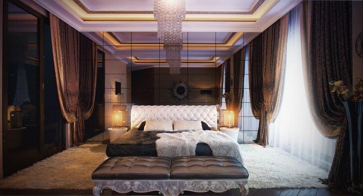 Зеркальная стена в спальне в лучших традициях стиля арт-деко. Спальная комната для молодой семейной пары.