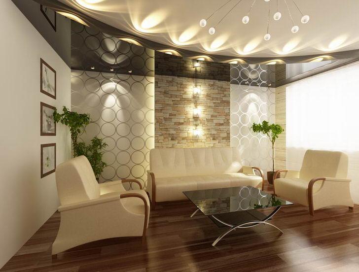 Многоярусные потолки подходят для оформления квартир и домов с высоким цоколем.