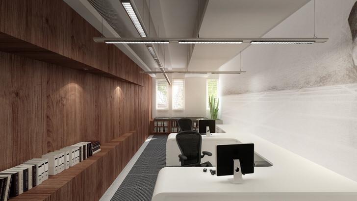 Рабочие зоны в офисе освещают умные светодиодные светильники, способные поддерживать заданные параметры.
