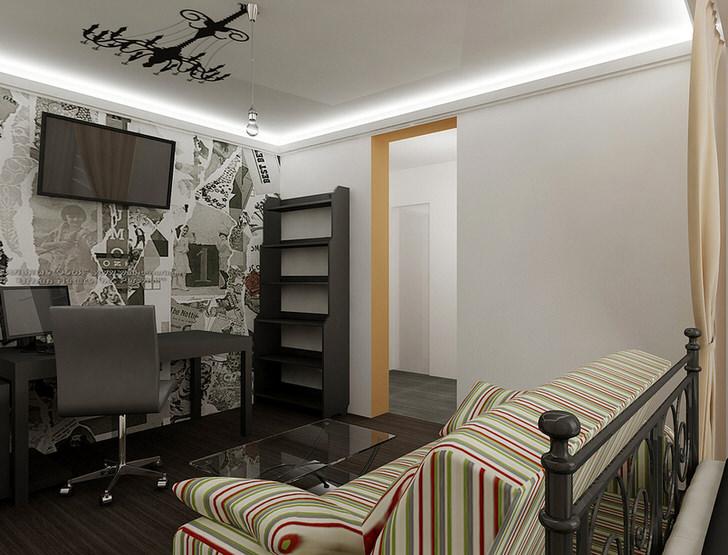 Кабинет в стиле белый лофт с правильно подобранным освещением.