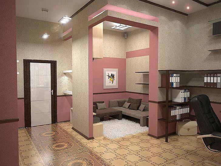 Вариация дизайна интерьера в стиле эклектика для стильной девушки. Розовые приглушенные тона выгодно сочетаются с бежевыми.