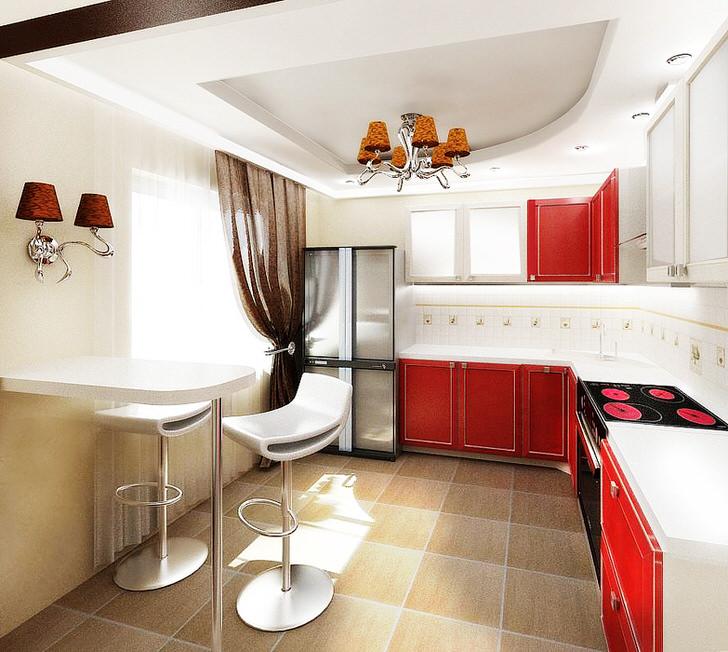 Дизайнерский проект для кухни в обычной квартире Москвы. Контрастное сочетание цветов, функциональная, не отягощенная деталями мебель, лаконичное освещение - показатели безукоризненного стиля владельца жилища.
