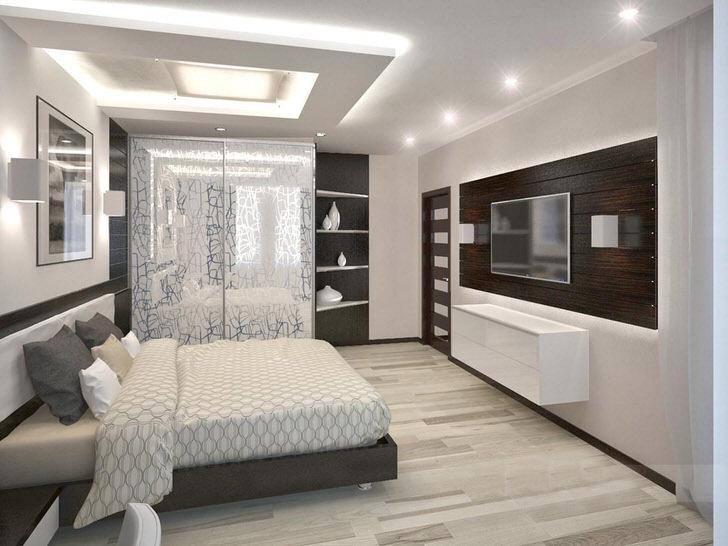 Светлая, просторная спальня в стиле хай-тек. Правильно подобранная мебель органично сочетается с элементами отделки.