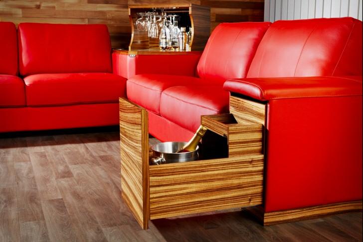 Создаём удобный уголок из модульной мягкой мебели для комнаты отдыха просторной сауны. приятное дополнение: кубик барной стойки, и выдвижные ящики.