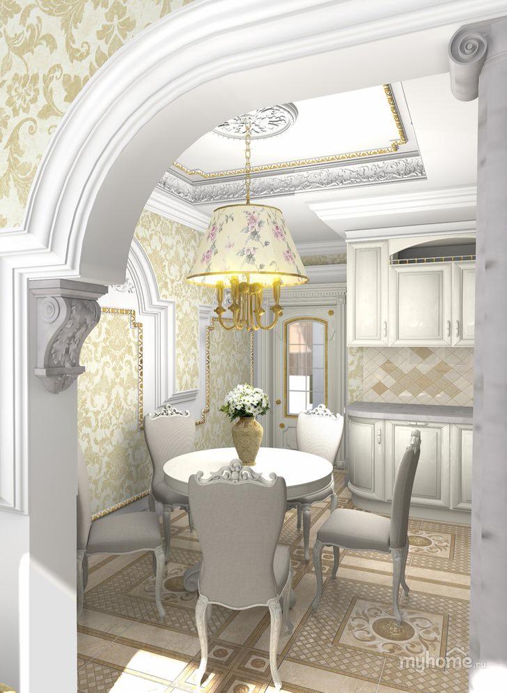 Стильная кухня с четко очерченной обеденной зоной. Классический круглый стол и стулья с резными спинками из дерева выгодно смотрятся в общей картине интерьера.