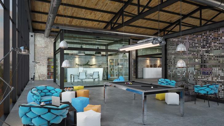 Правильно подобранная мебель для гостиной в лофт стиле. Внимание притягивают креативные кресла ярко-голубого цвета.
