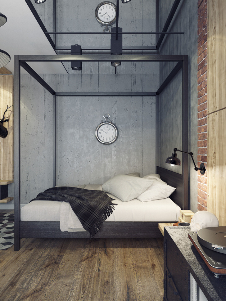 Спальня в стиле лофт - дизайн маленькой комнаты