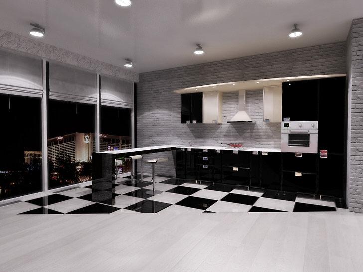 Кухня в стиле минимализм в квартире-студии с панорамными окнами - отличный выбор для людей, которые любят простор и свободу действий.