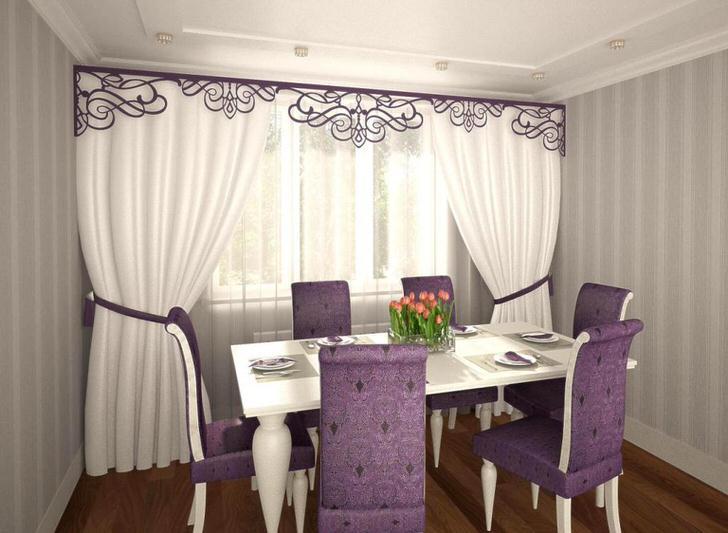 Жесткие ламбрекены - изящное украшение для обеденной комнаты.