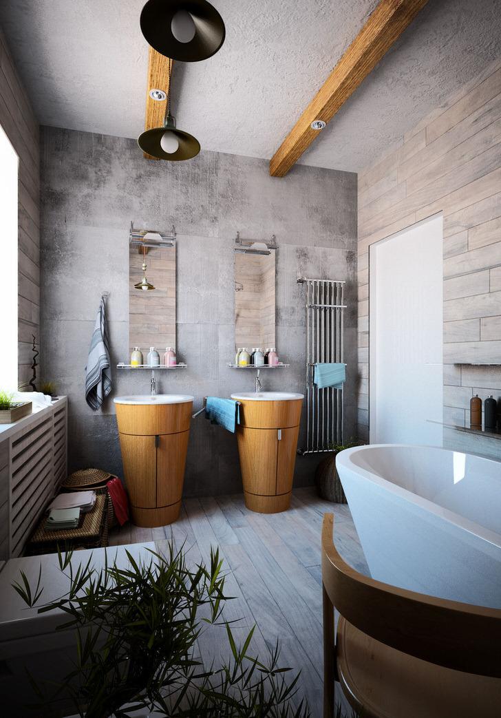 Стильная ванная с правильно подобранными деталями для стиля лофт. Раковины в виде котомок и белоснежная керамическая ванная - для настоящего ценителя стиля.