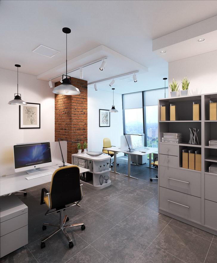 Светлый офис в стиле лофт с правильно подобранным освещением.