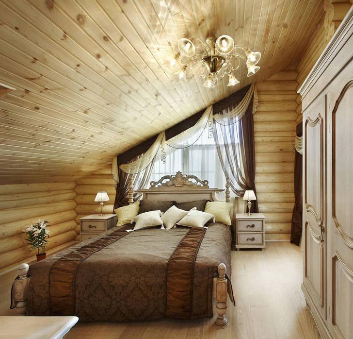 Необычное решение для спальной комнаты в кантри стиле. По королевски мягкая кровать, созданная по мотивам барокко, изысканно смотрится в общей деревенской концепции интерьера.