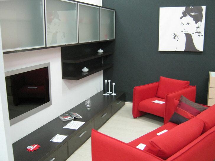 Классическая мебель для оригинальной гостиной-лаконичные формы мягкой мебели(модный красный цвет), и навесные шкафы с матовым стеклом.