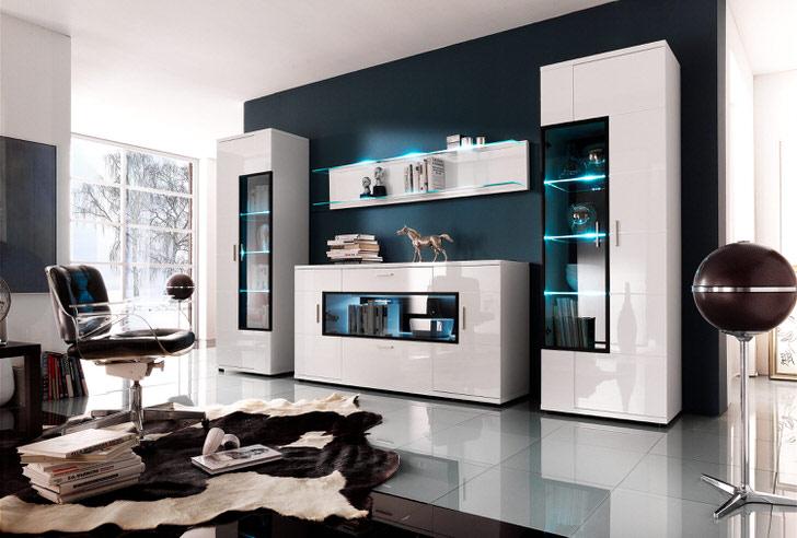 Необычное решение для гостевой комнаты - модульная стенка с неоновым освещением. Современная мебель для хай-тек стиля.