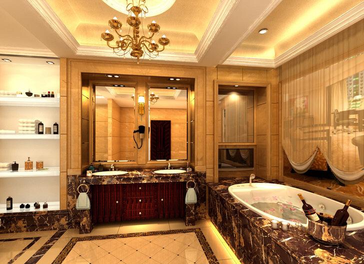 Огромная ванная в стиле ампир искусно украшена мелкими декоративными деталями. В соответствии с требованиями стиля подобраны вешалки для полотенец, настенные светильники, занавеска из легкой ткани на окно.