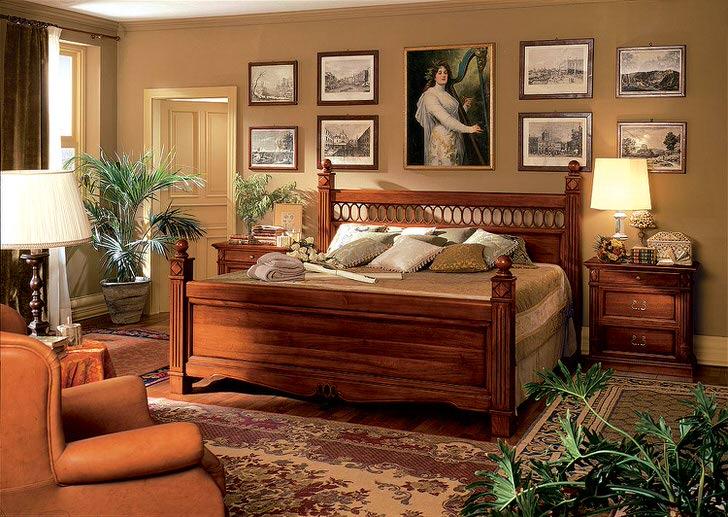 Правильно подобранная, массивная мебель из дерева для спальни в стиле барокко.