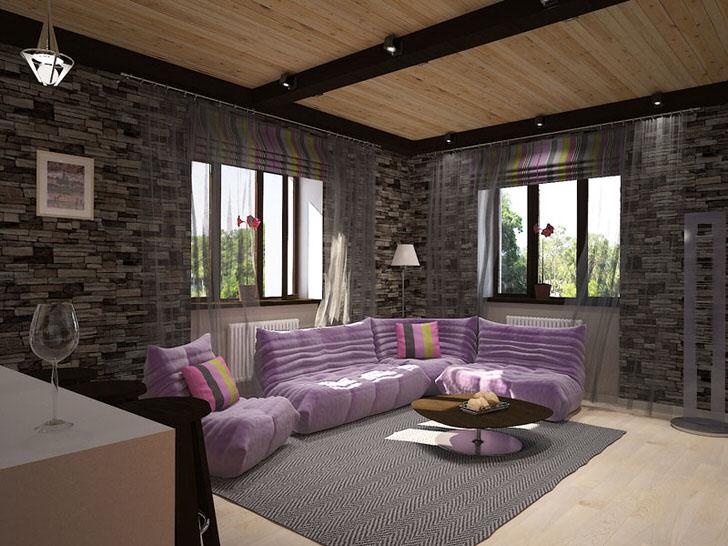 Дизайнерский проект для уютной гостиной в лофт стиле. Отделка стен из камня гармонично сочетается с мягкой мебелью нежно-фиолетового цвета.