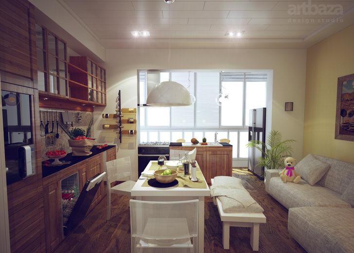 Кухня в скандинавском стиле оформлена достаточно необычно. Гарнитур из темных пород дерева изысканно сочетается с белой мягкой мебелью.