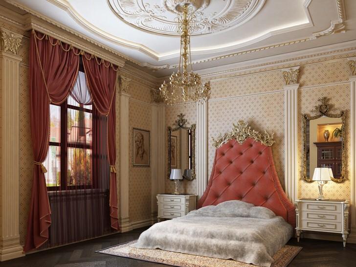 В центре дизайнерской композиции стоит кровать с высоким изголовьем, обитым мягкой тканью цвета чайной розы.