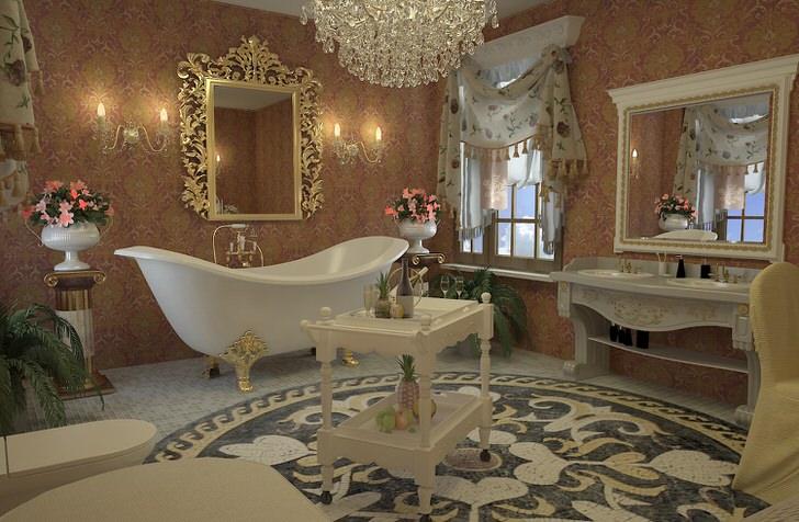 Дизайнерский проект для стильной ванной комнаты в стиле ампир. Изысканная ванная на четырех узорных, золотистых ножках, зеркало в резной раме, люстра из горного хрусталя отлично сочетаются между собой.