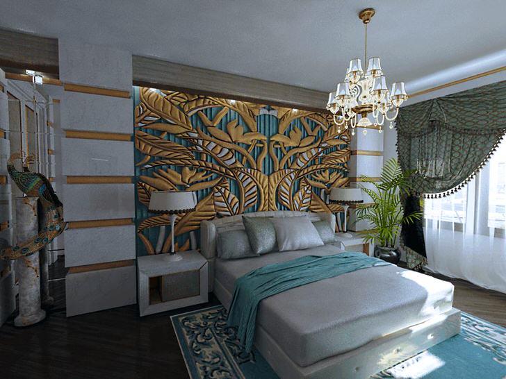 Шикарное, эксклюзивное панно изумрудно-золотого цвета у изголовья кровати сочетается с элементами декора комнаты. Спальня в стиле арт-деко -королевские апартаменты в обычной квартире.